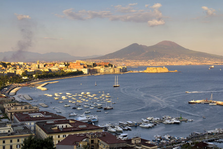 Panorama of Naples, view of the port in the Gulf of Naples, the Egg Castle, and Mount Vesuvius