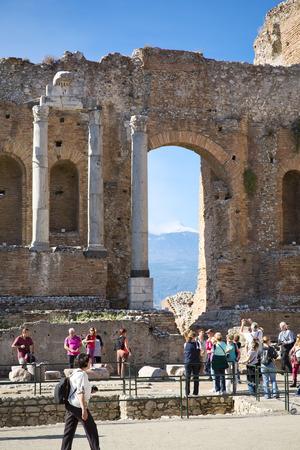 taormina: Ruins of the Greek Roman Theater, Taormina, Sicily, Italy Editorial
