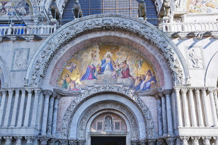 patriarchal: The Patriarchal Cathedral Basilica of Saint Mark at the Piazza San Marco. St Marks Square, Venice, Italy Stock Photo
