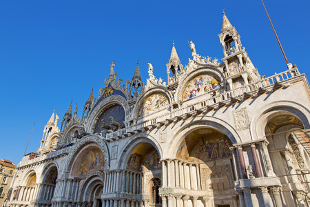 The Patriarchal Cathedral Basilica of Saint Mark at the Piazza San Marco. St Marks Square, Venice, Italy Stock Photo