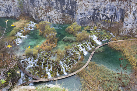 water fall: Breathtaking view in the Plitvice Lakes National Park, Croatia