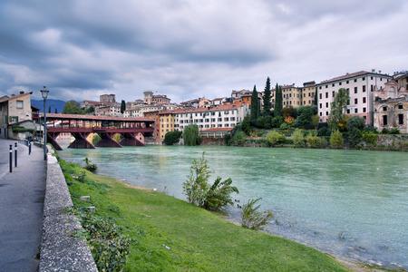 grappa: The Old Bridge of Bassano del Grappa, Veneto, Italy. Romantic style Editorial