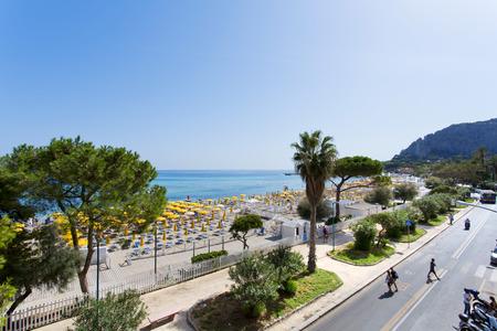 mondello: Mondello, Parasols on the beach. Mondello is one of the most popular destinations for a Sicilian vacation. Stock Photo
