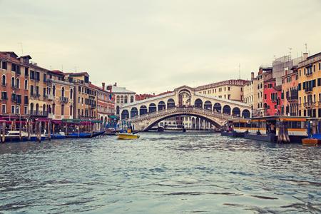rialto: Beautiful view of a Grand Canal  in Venice and Rialto Bridge, Italy