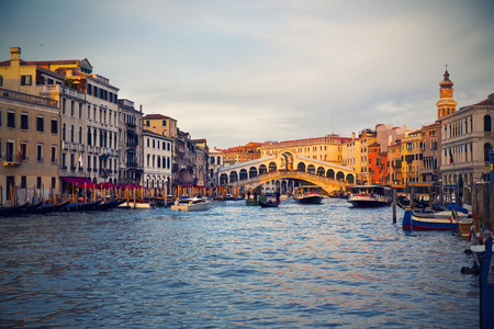 grand canal: Beautiful view of a Grand Canal  in Venice and Rialto Bridge, Italy