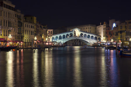 rialto: Beautiful view of a Grand Canal  in Venice and Rialto Bridge by night, Italy Stock Photo