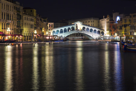 grand canal: Beautiful view of a Grand Canal  in Venice and Rialto Bridge by night, Italy Editorial