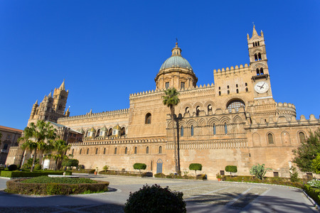 santa rosalia: The beautiful view of the Cathedral of Palermo. Is the citys cathedral and main church in Palermo, Sicily, Italy.