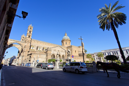 santa rosalia: PALERMO, SICILY, February 2, 2016: The beautiful view of the Cathedral of Palermo. Is the citys cathedral and main church in Palermo, Sicily, Italy.