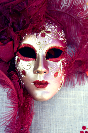 Venetian masks on sale in Burano island, Venice, Italy
