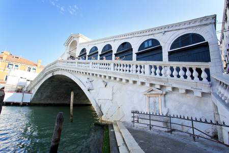 A beautiful view of Rialtos Bridge and the Canal Grande  in Venice, Italy