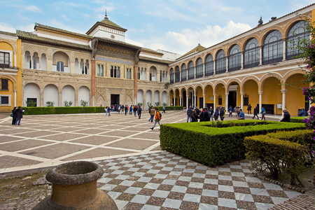 real renaissance: Real Alcazar in Seville. Wide square near the Moorish and Renaissance buildings Editorial