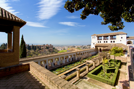 A beautiful view of Alhambra in Granada, Andalusia, Spain