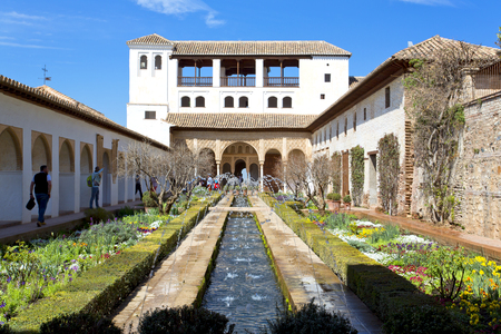 Patio of the irrigation canal, Patio de la Acequia, in Alhambra palace, Granada, Andalusia, Spain Stock Photo