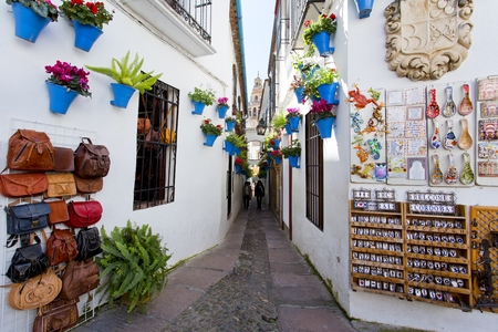 Flowers in flowerpot on the white walls on famous Flower street Calleja de las Flores in old Jewish quarter of Cordoba, Andalusia, Spain