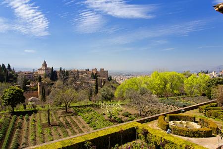 View of Alhambra from Generalife gardens, Granada, Spain Stock Photo