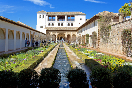 Patio of the irrigation canal, Patio de la Acequia, in Alhambra palace, Granada, Andalusia, Spain Editorial
