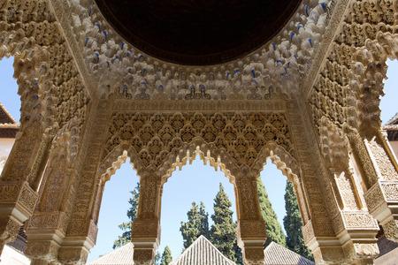 Patio de los Leones, Patio of the Lion, in the Palacios Nazaries. Alhambra, Granada, Andalucia, Spain. Editorial