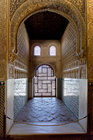 A beautiful detail of Alhambra in Granada, Andalusia, Spain