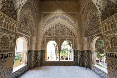 Decorated room inside Nasrid Palace in the complex of the Alhambra, Granada, Andalusia, Spain
