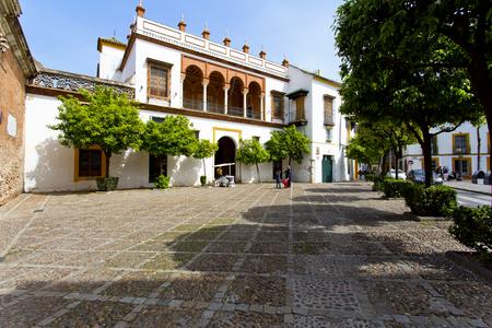 Een prachtig uitzicht op de Plaza de Pilatos in Sevilla, Andalusië, Spanje Redactioneel