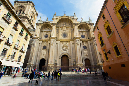 The famous cathedral in Granada, Andalusia, Spain Редакционное