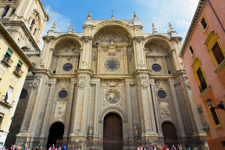 The famous cathedral in Granada, Andalusia, Spain Standard-Bild
