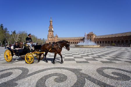 A beautiful view of Spanish Square, Plaza de Espana, in Seville, Andalusia, Spain