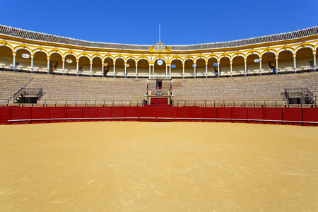 The famous Plaza de toros, bullfight arena, in Seville, Andalusia, Spain