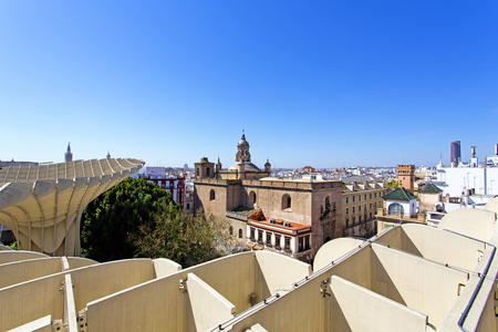 From the top of the Space Metropol Parasol, Setas de Sevilla, one have the best view of the city of Seville, Andalusia, Spain