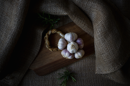 Close up of a braid of red Nubia garlic Stock Photo