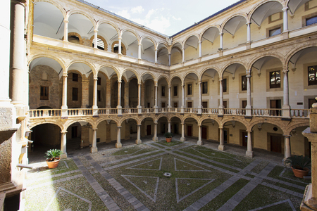 Courtyard of Palazzo Reale in Palermo, Sicily