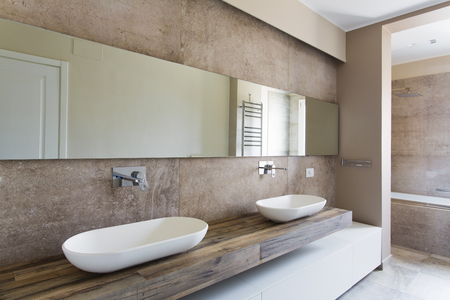 Modern bathroom with double sink. Bathroom sanitary ware suspended Stockfoto