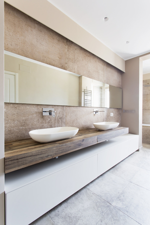 Modern bathroom with double sink. Bathroom sanitary ware suspended Imagens