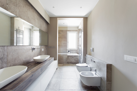 Modern bathroom with double sink. Bathroom sanitary ware suspended Stock Photo