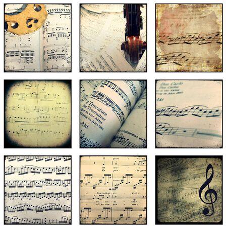 Fotocollage mit Darstellungen von Partituren und Instrumenten