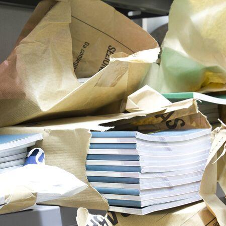 New books in paper packages, focus selected Zdjęcie Seryjne