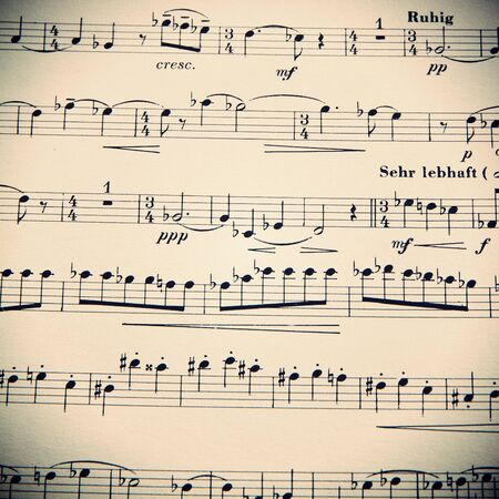 Música, partituras, fondo. La belleza de la musica Foto de archivo