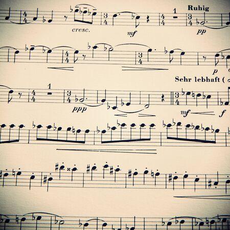 Musica, spartiti, sottofondo. La bellezza della musica Archivio Fotografico