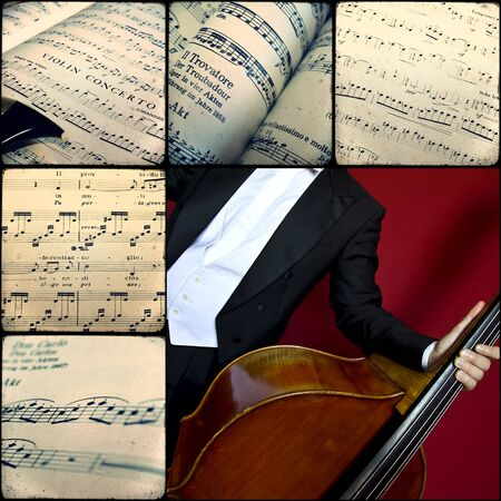 Collage of photographs depicting musical scores and instruments