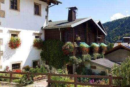 Flowery windows in Sauris above, Carnic Alps, Friuli Venezia Giulia, Italy