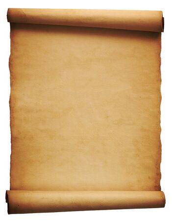 Open perkamentblad op witte achtergrond Stockfoto