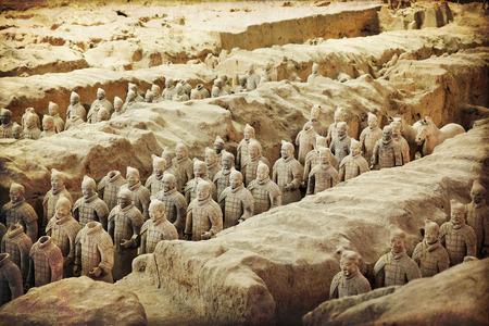 Belle vue sur l'armée de terre cuite à Xian, Chine Éditoriale