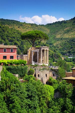 Tivoli, view of the Tempio della Sibilla in the park of Villa Gregoriana