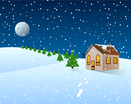 Vector Illustration of a snowy Christmas with a single field house Фото со стока - 80478563
