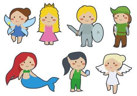 Schattige kinderen sprookjes Clip van elf, elfje, prinses, prins, robin kap, zeemeermin, elf engel Stock Illustratie