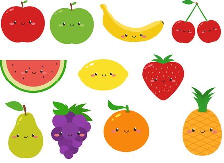 Schattig fruit Cartoon Clipart Stock Illustratie