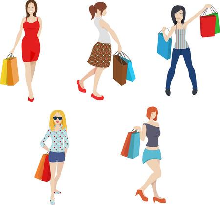 Winkelen vrouwen illustraties, modieus, trendy meisje Clipart Stock Illustratie