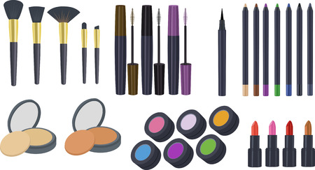 Cosmetics Clipart, Makeup Clipart, Clipart Set of Eyeshadow Brush, Eyeliner, Lipstick, Eye Pencil, Eye Powder, Mascara