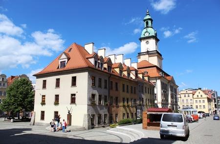Jelenia Gora, Silesia, Poland - June 6, 2014 view of the marketplace Jelenia Gora town under the arcades in Silesia, Poland,  Editorial